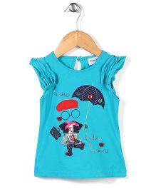 Little Wonder Umbrella Print Top - Blue