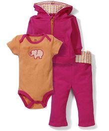 Yoga Sprout Onesie Jacket & Pant Set - Orange & Pink