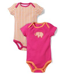 Yoga Sprout Elephant Patch Pack Of 2 Onesies - Pink & Orange