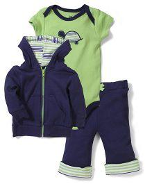 Yoga Sprout Stylish Jacket Onesie & Pant Set - Navy Blue & Green