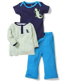 Yoga Sprout Lizard Print Pant, Top And Onesie Set - Blue & Green