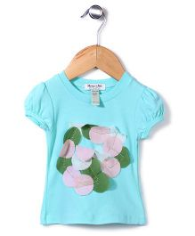 Candy Hearts Attractive Top - Aqua Blue