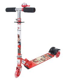 Toyhouse Three Wheeled Height Adjustable Scooter With Wheel Lights and Anti Slip Foot Grip - Red