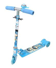 Toyhouse Three Wheeled Height Adjustable Scooter With Wheel Lights and Anti Slip Foot Grip - Blue
