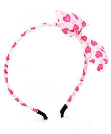 Stol'n Heart Print Bow Motif Hairband - White & Pink