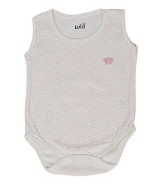 Lula Sleeveless Onesie Dots Print - Pink and White
