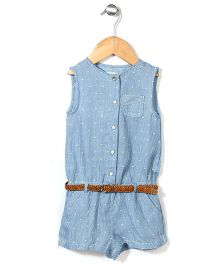 Dreamcatcher Front Button Romper With Belt - Blue