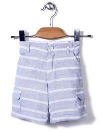 Candy Rush Stripe Print Shorts - Grey