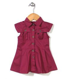 Dreamcatcher Casual Dress With Front Buttons - Red