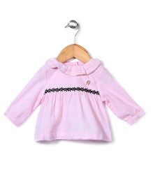 Dreamcatcher Full Sleeves Dress With Frills - Pink