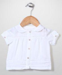 Dreamcatcher Front Button Short Sleeve Top - White
