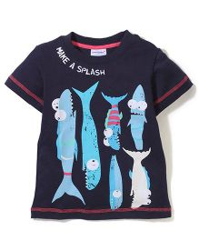 Poly Kids Make A Splash Print T-Shirt - Black