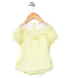 Candy Hearts Floral Detailing Top - Yellow