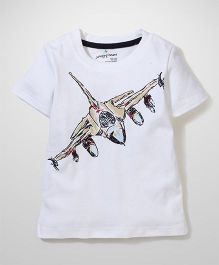 Poly Kids Airplane Print Tee - White