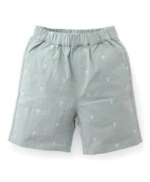 Candy Hearts Anchor Embroidery Shorts - Grey