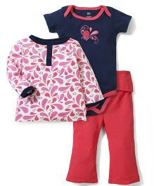 Yoga Sprout Top Onesie & Pant Set - White & Pink