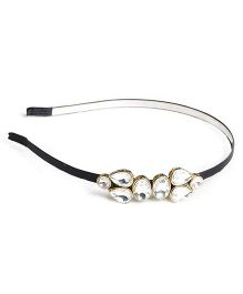 Chubby Cheeks Kundan Double Broach Hairband - Black