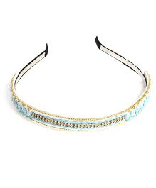 Chubby Cheeks Ethnic Threadwork Hairband - Blue
