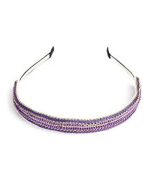 Chubby Cheeks Ethnic Gold Crochet Hairband - Purple