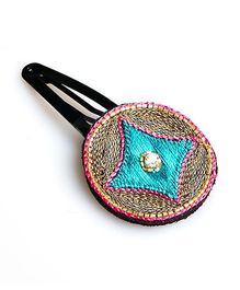 Chubby Cheeks Ethnic Zari Embroidered Tic Tac Hair Pin - Blue