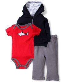 Yoga Sprout Shark Print Pant, Jacket & Onesie - Red & Black