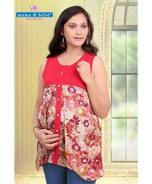 Mama & Bebe Sleeveless Printed Maternity Top - Red
