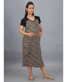 Mama & Bebe Half Sleeves Printed Maternity Dress - Dark Green