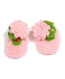 The Original Knit Handcrafted Crochet Flower Booties - Pink