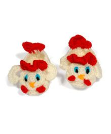The Original Knit Handcrafted Duck Shaped Booties - Off White & Red