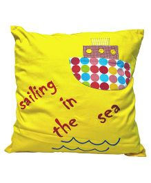 Oyster Kids Sailing In The Sea Applique Cushion Cover - Yellow