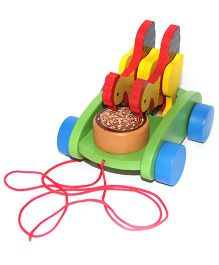 Playthings Wooden Hen Pull Along Toy - Multi Color