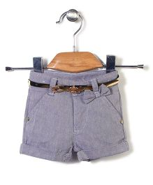 Candy Hearts Shorts With Belt - Blue