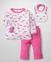 Candy Rush Cat Print Top & Pant Set With Bib - Pink