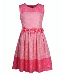 Cutecumber Sleeveless Party Dress With Floral Motifs - Pink