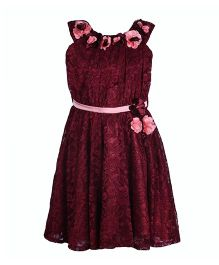 Cutecumber Halter Neck Party Lace Dress With Floral Embellishments - Maroon