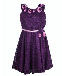 Cutecumber Halter Neck Party Lace Dress With Floral Embellishments - Purple