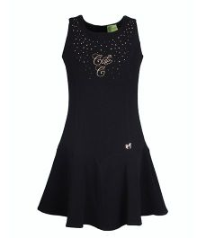 Cutecumber Sleevess Party Dress With Golden Studs Embellishments - Black
