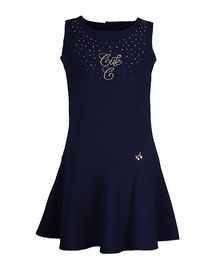 Cutecumber Sleevess Party Dress With Golden Studs Embellishments - Navy Blue