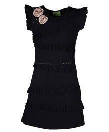 Cutecumber Cap Sleeves Party Dress Frill Pattern And Appliques - Black