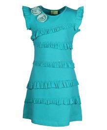 Cutecumber Cap Sleeves Party Dress Frill Pattern And Appliques - Blue