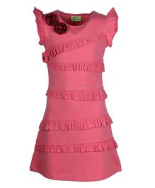 Cutecumber Cap Sleeves Party Dress Frill Pattern And Appliques - Peach