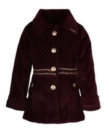 Cutecumber Full Sleeves Buttoned Jacket With Golden Embellishments - Brown