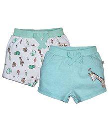 FS Mini Klub Printed Shorts Set of 2 - Green And White
