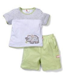 Candy Rush Elephant Tee & Shorts Set - Green & Grey