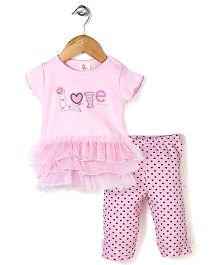 Candy Rush Love Print Top & Leggings Set - Light Pink