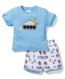 Candy Rush Bulldozer Print Tee & Shorts Set - Blue