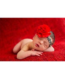 Akinos Kids Flower Puff Bows Headband - Red