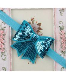 BabyZinnia Sequin Bowknot Elastic Headband - Aqua Blue