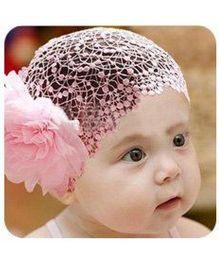 Akinos Kids  Embroided Peach Big Flower Princess Headband - Peach