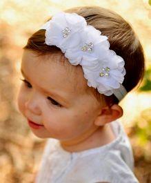 BabyZinnia Flower Headband Embellished With Pearls - White